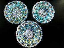 "3 Czech Crystal Glass LACY Buttons #B349 - 27 mm or 1"" - IRIDESCENT!!!!!!!!!!!!!"