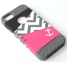 For iPhone SE 5S HARD & SOFT RUBBER HYBRID ARMOR CASE PINK CHEVRON ANCHOR GREY