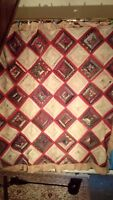 "Vintage Hand Sewn Patchwork Quilt. Good Condition. 72"" x 65"""