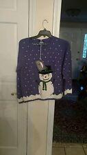 NWTRey Wear Women's snow men purpl  Sweater Size meduim Hand Knitted