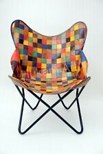 Leather Butterfly Chair Genuine Multicolour Leather Handmade Chair, Living Room