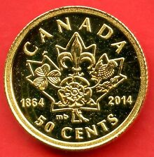 2014 Canada 50 Cent Gold Coin 'Quebec & Charlottetown 150th' 1.27 Grams .999
