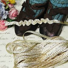 "1y VTG 1/8"" FRENCH RUCH TRIM Tiny FLAT WHITE GOLD METALLIC Ribbon Antique Doll"