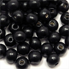Lot of 100 Beads Wood 8mm Black Jewellery Making Craft