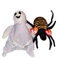 Halloween Beanie Babies TY Sheets the Ghost & Spinner the Spider with tags