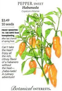 Pepper Sweet Habanada Vegetable Seeds - Botanical Interests 12/21
