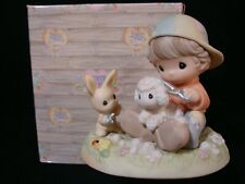 New ListingPrecious Moments-Country Lane-Boy And Rabbit Clipping Wool From Sheep