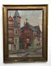 Tableau ancien, huile sur toile à restaurer, Maisons à Dinard, fin XIX-début XXe