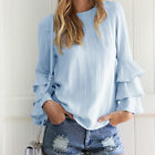 Woman Layer Peplum Frill Top Blouse Jumper Tee Long Sleeve Fashion T-Shirt