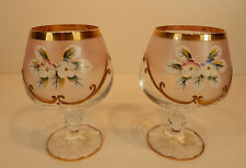 2 Gläser Cognacschwenker Bohemia Luxusglas rose` Emaille Blüten Gold Handmalerei