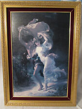 FRAMED HAND PAINTED OIL CANVAS REPRODUCTION OF THE STORM BY PIERRE AUGUSTE COT