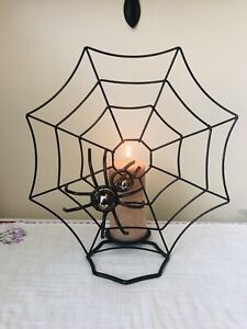 """Tabletop Candlelabra Candle Holder Spider Web Halloween Gothic Centerpiece 14"""""""