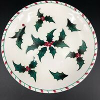 Vintage Hand Painted Holly Berry Christmas Dinner Plate 025 Serving Dish 9.5""