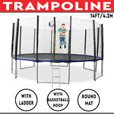 Trampoline with Ladder Basketball Hoop Safety Net Round Mat 14FT/4.2M