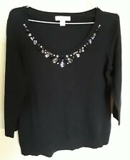 Cold Water Creek Womens Pullover Seeater Small 8 Black Beaded Neck 3/4 Sleeves