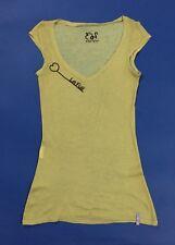 Le full maglia canotta donna top usato S canott t-shirt dorata trasparente T4127