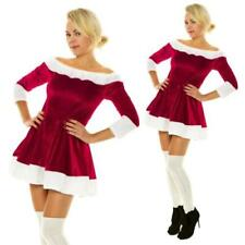 Christmas Sexy Santa Claus Fur Boat Neck Costume Xmas Outfit Fancy Dress Womens