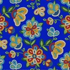 Royal Blue Beaded Floral Tribal Native American Elizabeth Studio Cotton Fabric