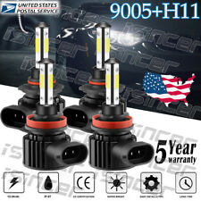 9005 H11 672000LM Combo 4-Side LED Headlight Kits High Low Beam Bulb 6000K White
