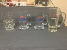 Lot Of 4 Mxed Beer/Bar Mugs/Steins ,Miller Lite, Henninger , Heineken
