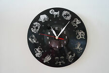 Zodiak Design vinyl record wall clock [ black gloss sticker ] home art shop club