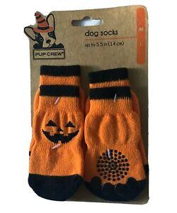 "Dog Puppy Socks Anti Slip M/L up to 5.5"" Halloween Pumpkin Jacko'lantern"