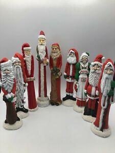 Christmas lot Of 8 Santa Claus Statues Figurines Plus One Mrs. Santa