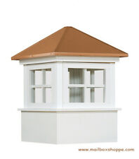 "22"" Elsworth Vinyl Window Cupola - Copper Roof - Amish made Maintenance Free"