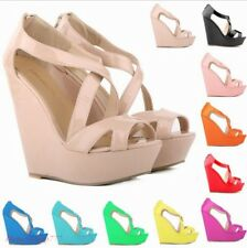 Women Sexy Wedge 14cm Heels Pumps Open Toe Shoes Platfrom Patent Leather Sandals