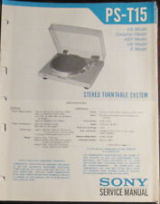 Sony PS-T15 turntable service repair workshop manual (original copy)