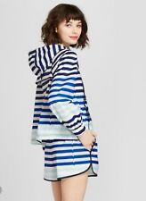 NEW Hunter for Target Women's Sz M Striped Half Zip Hooded Rain Jacket Pullover