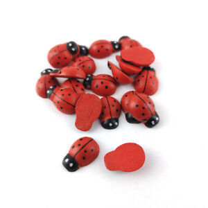 Wood Cabochons Red/Black Lady Bird 10 x 12mm Pack Of 20