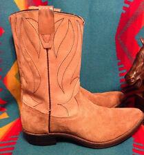 VINTAGE Durango Tan Suede Women's Cowboy Boots Flame design - size 5 1/2