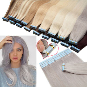 50G+ Tape In Skin Weft 100% Remy Human Hair Extensions THICK Full Head Straight