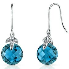 Double 8.50 Cts London Blue Topaz Diamond Earrings in 14K White Gold