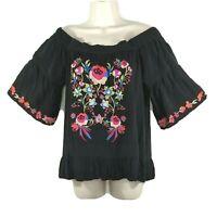 Umgee Embroidered Floral Peplum Top Boho Off Shoulder Size L Black Short Sleeve