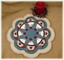 Penny Rug/Candle Mat PATTERN SnOwMaN Cocoa Applique