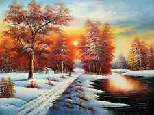 """36x48""""(92x122cm)100%Hand Painted Oil Flat,Land Scape, Mountain, Forest,Lake"""