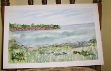 VINTAGE NAUTICAL ROCKS OCEAN RED FLOWERS GRASS PRIMITIVE FOLK ART W/C PAINTING