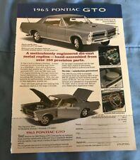 1965 Pontiac GTO Danbury Mint 1:24 Scale Die-Cast Vintage Ad