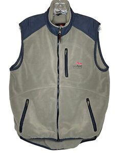LL Bean All Conditions mens medium fleece vest brown The Weather Channel