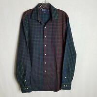 Polo Ralph Lauren Mens Plaid Colorblock Button Front L/S Shirt Sz 17.5 / XL Z106