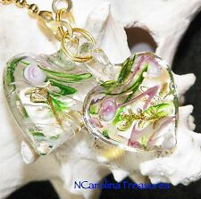 LIGHT GREEN PINK CLEAR ART GLASS CEILING FAN LIGHT SWITCH PULL HEART LARGE PAIR