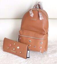 BNWT GUESS CARSON Stud Small Backpack Shoulder Bag Wallet Purse Clutch Cognac