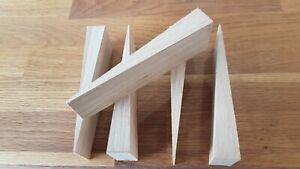 Pack of 5 Solid Oak Wood Wedges Door Stop Level Up Furniture Anti Window Rattle