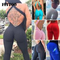 Women Anit Cellulite YOGA Pants Sports Jumpsuit Leggings Fitness Bodysuit Gym E1
