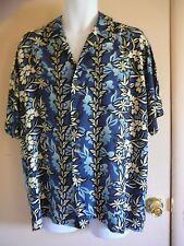 Men Pineapple Connection Hawaiian Shirt M Short Sleeve Blues 100% Rayon Floral