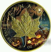 2016  1 Oz HALLOWEEN MAPLE LEAF Silver Coin., Canada..
