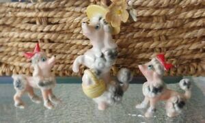 Vintage Bone China Miniature Pink Poodle In Hat & Puppies Figurines