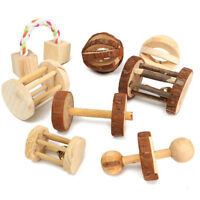 Wooden Mini Cute Pet Guinea Pigs Rat Rabbits Toys Pine Unicycle Roller Chew Toys